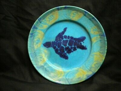 Michael Pugh turquoise blue turtle plate