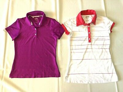 2x Adidas Golf Climalite Climacool Short Sleeve Sports Girls Tops Size XS Tennis