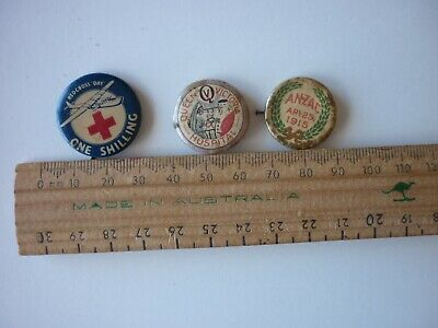 Old Enamel Badges By Three, Includes Anzac, 1915.