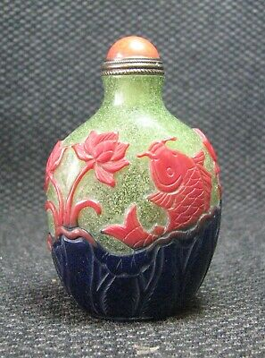 Chinese Glass Seiko Carve Coloured Crab Design Snuff Bottle-----**