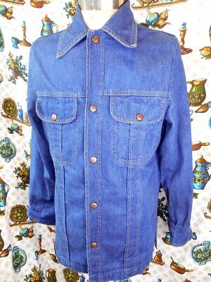 Vintage 1970s Blue Cotton Denim Dee Cee Western Cowboy Shirt with Snap Buttons S