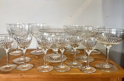 PART SET EDWARDIAN CRYSTAL WINE GLASSES 14 Pieces
