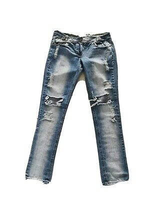 New Look Yes Yes Jeans Uk 10  Stressed Rip Skinny Fit