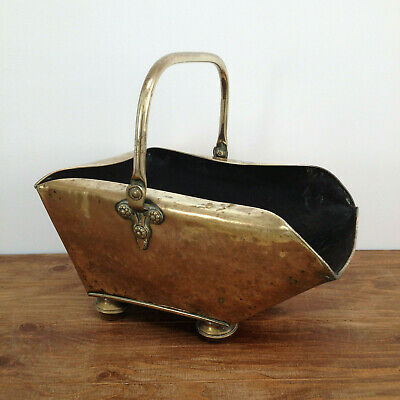Antique Henry Loveridge & Co Arts & Crafts Beaten Brass Coal Scuttle Bucket