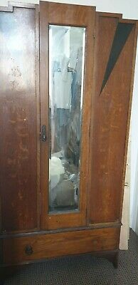 Art deco walnut wardrobe mirrored upcycling diy project vintage