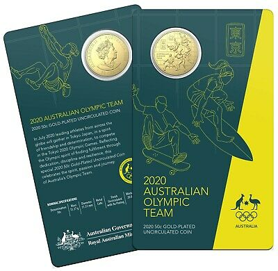 2020 AUSTRALIAN OLYMPIC TEAM ROUND 50c CENTS CuNi GOLD PLATED UNCIRCULATED COIN