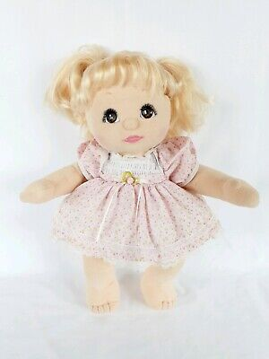 Aussie My Child Doll blonde Brown eyes Charcoal Pink Double Ribbons party dress.
