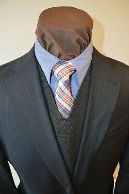 Hart Schaffner & Marx mens 2btn dark navy blue striped wool suit 42S pant 38x26