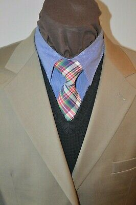 JoS A Bank Signature mens 3btn taupe tan olive wool suit sz 43L 42L pants 36x30