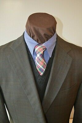 Joseph Abboud mens 2btn dark brown plaid blue windowpane suit sz 44L pants 39x31