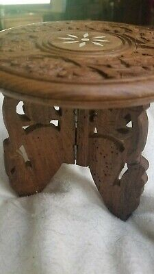 Vtg INDONESIA WOOD HAND CARVED old TEAK SIDE TABLE Plant/ashtray stand MOP INLAY