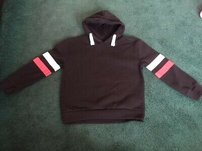 Girls Black Hoody With White And Red Arm Bands Age 7-8 Years. Excellent Conditio