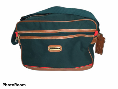 Jaguar Carry On Airplane Overnight Weekender Bag Canvas Green w/Red Accents