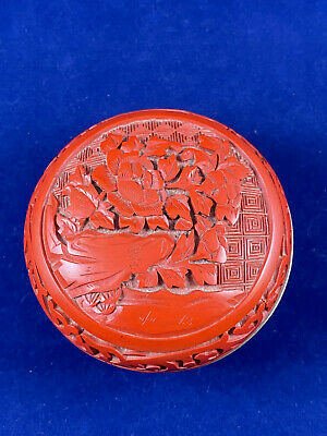 Antique Chinese Cinnabar Red Lacquer Covered Round Ink Box Blue Enamel Interior