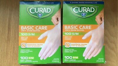 Curad Basic Care Vinyl Exam Gloves - 200 Total Gloves - Size S/M