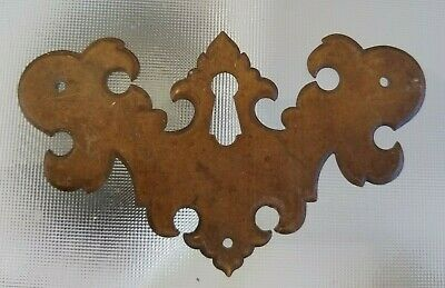 Antique Brass Chippendale Key Hole Cover Escutcheon Reclaimed Furniture Hardware