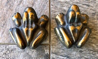 Pair of Bronze Anatomically Correct Frog Paperweights Male & Female