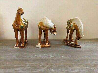 3 x Chinese Tang Style War Horse Statue Tri-Color Horses Sancai Ceramic Glazed