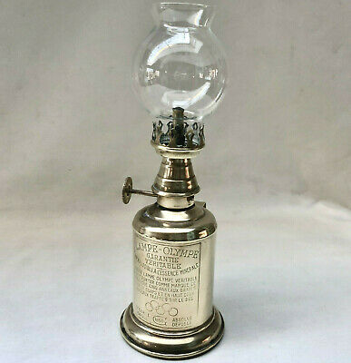 Antique French Miners Brass Olympic Oil Lamp Dated 1860  + Original Glass Shade