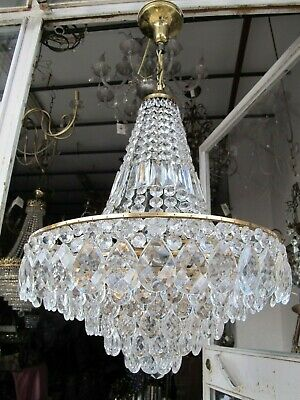 Antique French HUGE Basket Crystal Chandelier Lamp Lustre Luster 1950's Ø 20in D