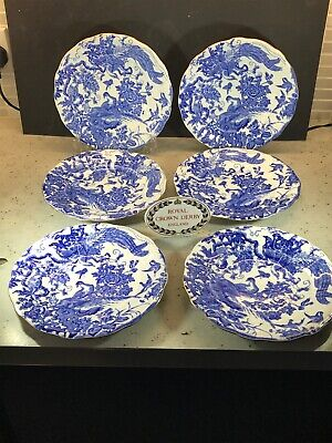 Royal Crown Derby Blue Aves Set Of Six Salad Plates 22 Cm Diam 1956