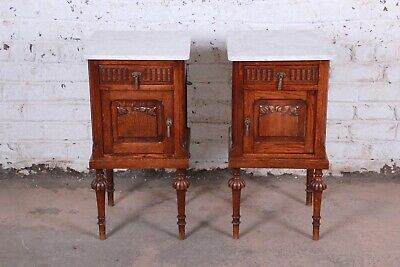 19th Century Victorian Carved Oak Marble Top Nightstands, Pair