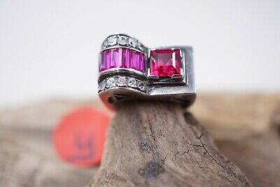 Antique French Art Deco Sterling Silver Red Gems Tank Ring Sz 5