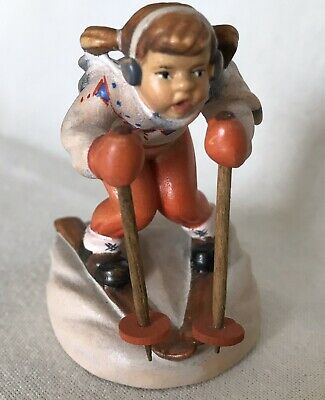 Vintage Small Fine Wood Carved Skier Oberammergau Figurine Germany