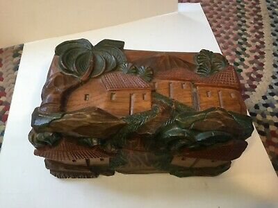 "Wooden Heavily Carved Box Guatemalan early 10"" x 6"" x 5"" palm trees"