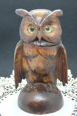 Antique Black Forest Carved Owl Inkwell Glass Eyes