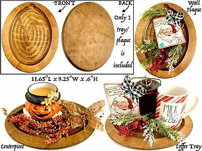 Vtg Primitiv Wooden Oval Carved Serving Tray Coffee Table Decor Plaque Handmade