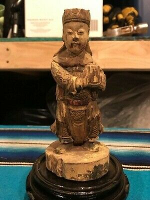 Antique Chinese Polychrome Wood Carved Figure Asian Buddha Warrior Emperor 18 c