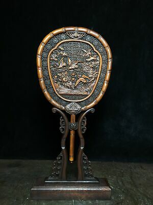 Collect China Old Boxwood Hand-Carved Crane Moral Auspicious Fan Screen Statue