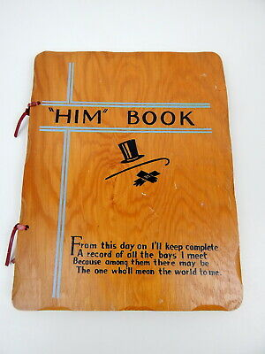 1R 'HIM' BOOK Girl Keepsake Diary Boyfriend Wood Cover 1940's 50's Memento