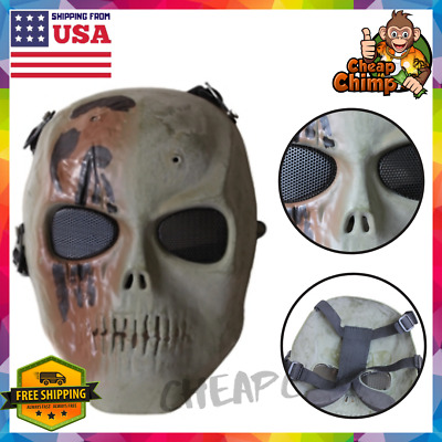 Safety Mask Skull Full Face with Metal Mesh Eye Protect Airsoft Paintball Gun