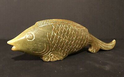 Antique Chinese Nephrite Jade Hard Stone Carving Of Fish