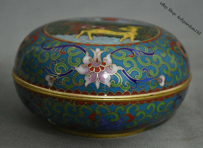 """4"""" Marked Old Chinese Palace Copper Cloisonne Carved Flower Sika Deer Round Box"""
