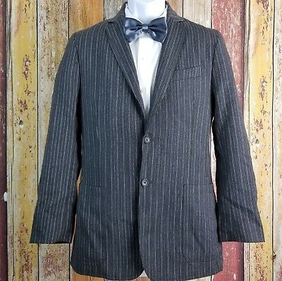 Dolce & Gabbana Men's Wool Gray Striped Sport Coat Jacket 36 Regular