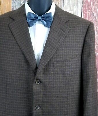 Ermenegildo Zegna Men's Cashmere Brown Check Sport Coat Jacket 44L Long