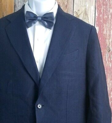 Current Robert Talbott Men's Blue Linen Blazer Sport Coat Jacket Medium