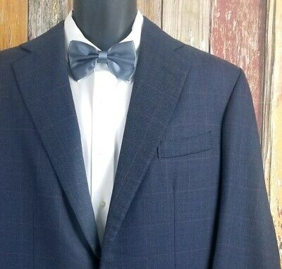 Anderson & Sheppard Savile Row England Blue Check 2 Piece Suit 46 Regular 42x33