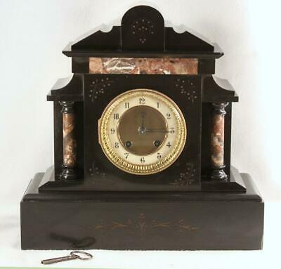 Antique French/German Black Slate & Marble Mantle Clock Friedrich Mauthe & Sons