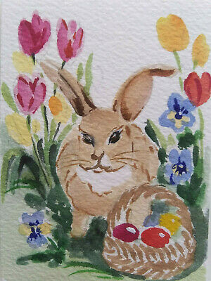ACEO Easter Bunny Rabbit Egg Original Watercolor painting  Art  2.5x3.5in by MK