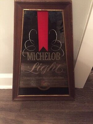 "Vintage 1970's Michelob Light Beer 20"" Framed Mirror Bar Tavern Gas Oil Sign"
