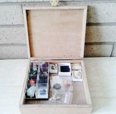 GEMSTONE & MINERAL COLLECTION in wooden box case