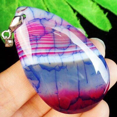 Blue Peach Dragon Veins Agate Teardrop Pendant Bead L07325