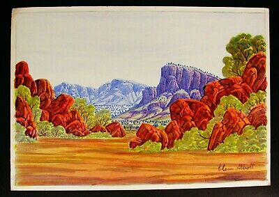 Water colour painting by Hermannsburg Aboriginal artist Clem Abbot (1939-1989)
