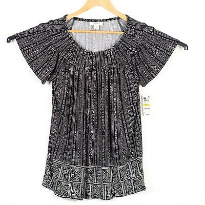 Style Co Womens Size M Black White Pleated Printed Top Summer Fields NWT