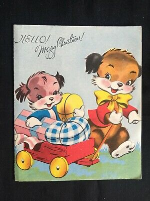 Vintage Collectable Greeting Card - c1958 - Dogs Carrying Cart of Gifts