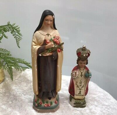 Two Vintage Plaster Chalkware Madonna & Priest Religious Staute Made In Italy